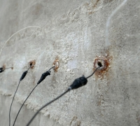 Ground Cloth: Chalk (detail), Linen, wire, hand-collected and hand-ground chalk, linseed oil, beeswax, sea-water, found threads, 120 x 197 cm