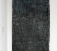 Ground Cloth: Seacoal, Linen, wire, hand-collected and hand-ground seacoal, linseed oil, beeswax, sea-water, found threads, 75 x 279 cm