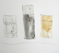 Sketchbook drawing: 3 Ground Cloths, watercolour, pen