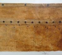 Ground Cloth Fragment: Yellow Ochre, Linen, wire, hand-collected and hand-ground yellow ochre, linseed oil, beeswax, sea-water, found threads, 66 x 41cm