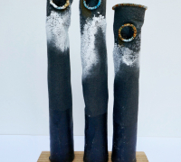3 Black Salt Pots
