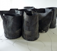 Bitumen Buckets, Cotton duck, bitumen found thread, fishing float, saltwater