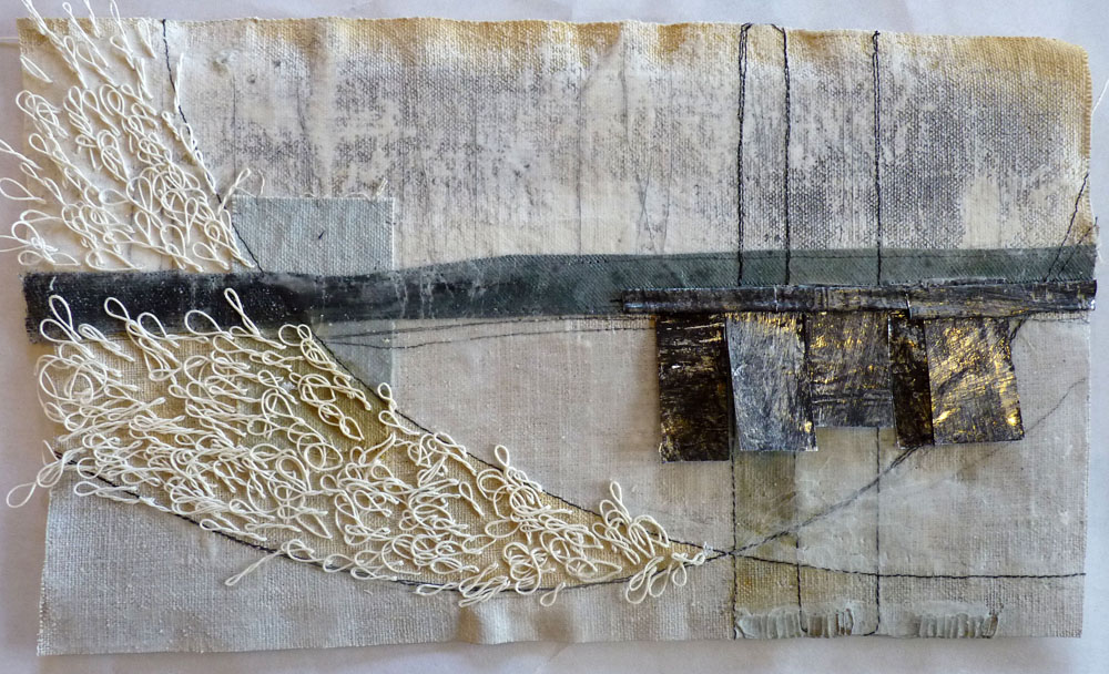 Marshscape Collage #8, Cotton duck, linen, wax, metal , linen thread