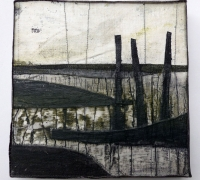 Marshscape Collage #10/16, Linen, wax, 20 x 20 cms