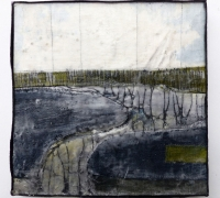 Marshscape Collage #9/16, Linen, wax, 20 x 20 cms