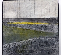 Marshscape Collage #3/16, Linen, wax, 20 x 20 cms