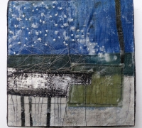 Marshscape Collage #12/16, Linen, wax, wire thread, 20 x 20 cms