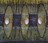 Sluice Creek Cloth: Marsh Shadows (detail), linen, wire, 240 x 52 cms